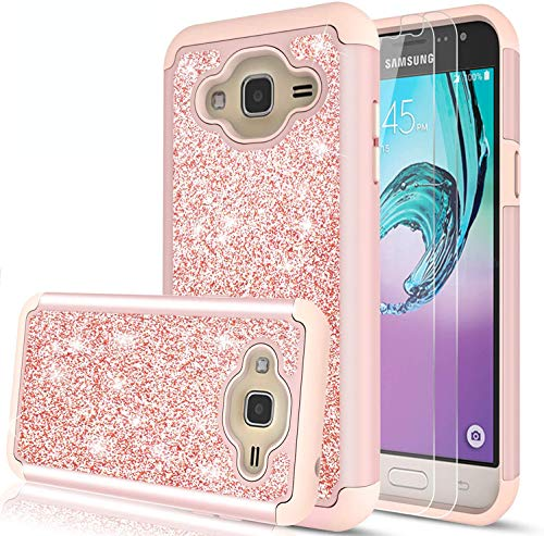 LeYi Compatible with Samsung Galaxy J3V /J3 (2016 Release)/Sky/Amp Prime/Express Prime Case with 2 Glass Screen Protector for Girls Women, Glitter Heavy Duty Phone Case for Galaxy J3 V TP Rose Gold