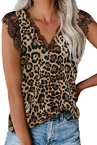 lime flare Women Sexy V Neck Lace Trim Summer Cami Tank Tops Dressy Silk Animal Print Camisole Shirt (Medium,Brown Leopard Eyelash Lace)
