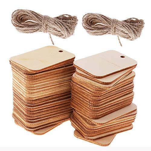 SIMUER 100pcs Etiquetas decorativas de madera artesanal en forma rectangular de madera diseño con cuerda decoración