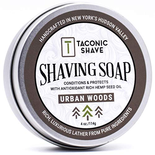 Taconic Shave Barbershop Quality URBAN WOODS Shaving Soap with Antioxidant-Rich Hemp Seed Oil – With hints of Cedar…