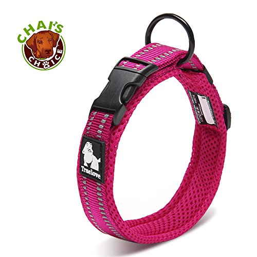 Chai's Choice Best Padded Comfort Cushion Dog Collar for Small, Medium, and Large Dogs and Pets. Perfect Match Front Range Harness Leash. (X-Large, Fuchsia)