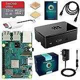 LABISTS Raspberry Pi 3 B+ Starter Kit con Micro SD de 32GB Clase 10, 5V 3A Adaptador de Corriente con Interruptor, 2 Radiadores, Cable HDMI, Caja de Calidad, Lector de Tarjetas, Caja Negra