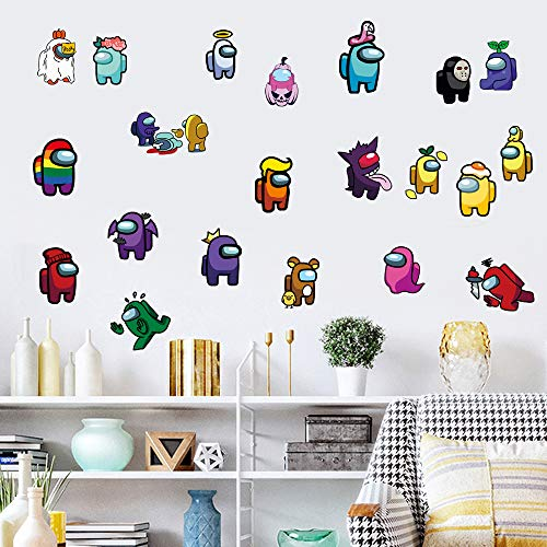 Video Game Among Sticker Children#039s Cartoon Bedroom Background Wall Decoration SelfAdhesive Wall Sticker PVC