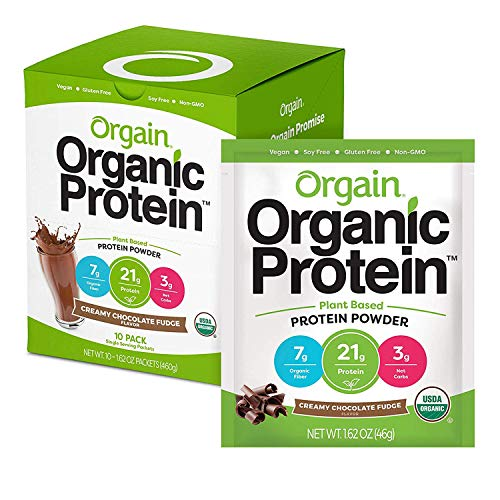 Orgain Organic Plant Based Protein Powder Travel Pack, Creamy Chocolate Fudge - Vegan, Low Net Carbs, Non Dairy, Gluten Free, No Sugar Added, Soy Free, Kosher, Non-GMO, 10 Count (Packaging May Vary)