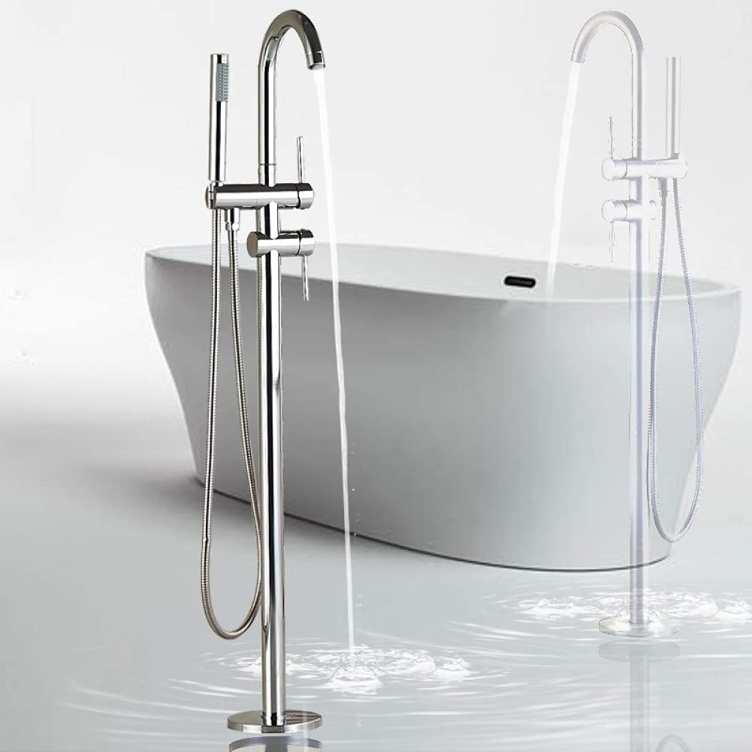 HUASAA Floor Mounted Chrome Bath Tub Faucet Clawfoot Free Standing Bath Mixer Tap with Handshower Single Lever Bathtub Faucet