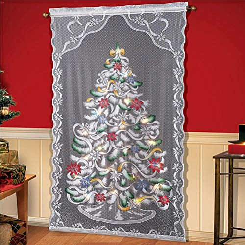 Weihnachts Scheibengardine Gardinen mit LED Spitze Vorhänge Transparent Weihnachtsbaum Dekoschal für Wohnzimmer Kinderzimmer 102 x 213 cm