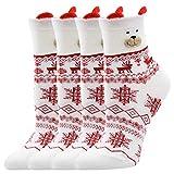 KaloryWee Weihnachtssocke Damen Rentier Schneeflocke Drucken Socken 4er Sets 2020