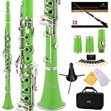Mendini by Cecilio B Flat Beginner Student Clarinet with 2 Barrels, Case, Stand, Book, 10 Reeds, Mouthpiece and Warranty (Green)