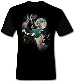Mens 3 Hippo Moon Summer Casual Short Sleeve Tee Creative 3D Printed Graphic Hipster Design T Shirt