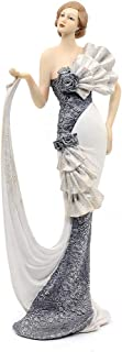"Comfy Hour 13"" Elegant Slim Lady Lifting Up Skirt Collectible Figurine, Gray & White"