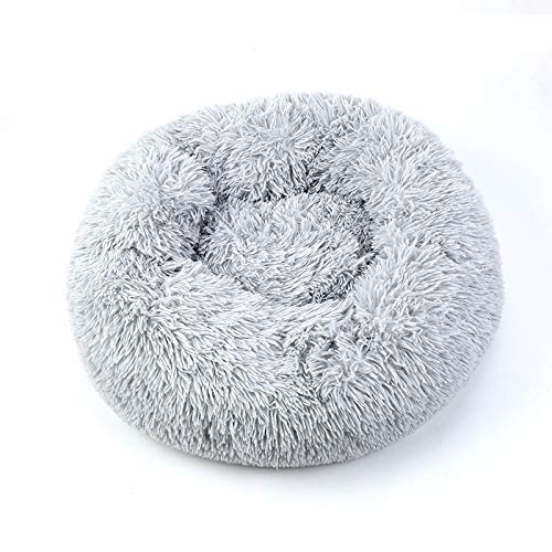 MUZIWIG cama calmante para perro, gato, cama cálida de felpa, cómoda para mascotas pequeñas, medianas y lavables a máquina, gris