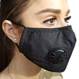 FIGHTECH Anti Pollution Mask with 4 Carbon Filters for Pollution Pollen Allergy Woodworking Mowing Running | Washable and Reusable Cotton Half Face Mask (Large, Black)