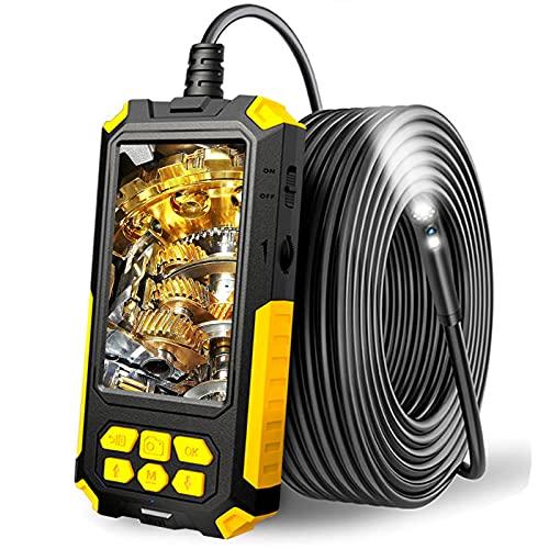 DDENDOCAM Industrie Endoskop 1080P HD Dual Lens Endoskop Inspektionskamera 4,5 Zoll IPS Bildschirm IP67 Wasserdichte Schlangenkamera mit LED-Licht, 2600mAh Akku, halbstarres Kabel, 32GB TF Karte (2M)