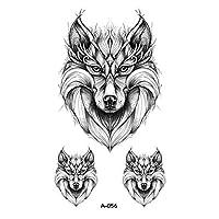 MAODING ホットデザインオオカミ頭の動物一時的な入れ墨のために男性の防水タトゥーステッカーボディーアートファッション (Color : 056)