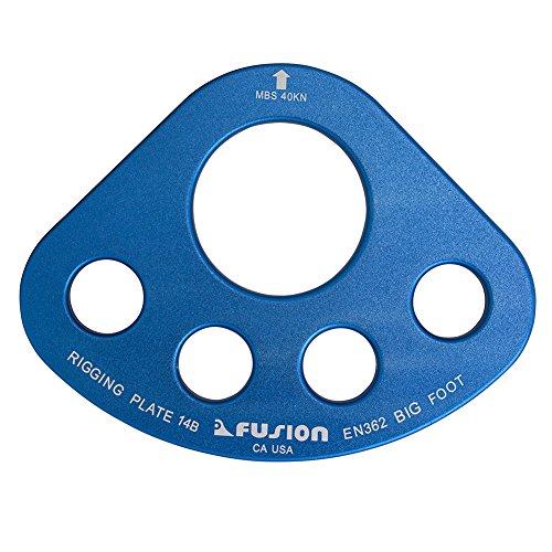 Fusion Climb Alumnm Big Foot Large 5 Hole Rigging Plate, Blue