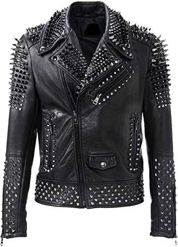 Brando - Giacca in pelle da motociclista da uomo, stile rock, punk, borchiato, colore: nero Nero XXXL