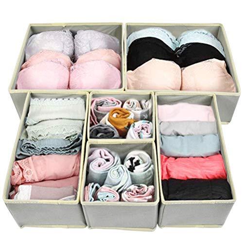 BUYGOO 6Pcs Faltbare Ordnungsboxen Vliesstoff Aufbewahrungsboxen in 3 Größen, Faltbar Kleiderschrank Schubladen Organizer für Unterwäsche Socken Schals Büstenhalter Krawatten, flexibel Ordnungssystem
