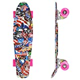 streakboard Complete 22'' Mini Cruiser Retro Skateboard for Kids Boys Youths Beginners, Suit for Commuting Rolling Around and Exercising, PE Certified (Pink Freedom)