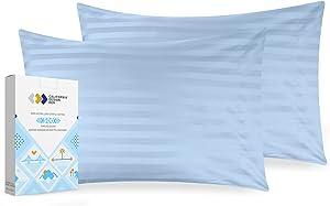 Sky Blue Pillow Covers Standard Size - 500 Thread Count 2 Piece Pillowcase Set, Damask Stripe Sateen Weave, Washable 100% Cotton Pillow Cases