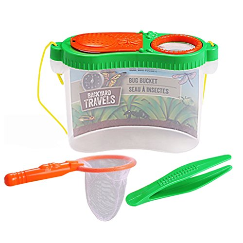 Odowalker 3pcs Bug Catcher Kit for Kids Insect Magnifier Critter Cage with Strap Bug Catching Net and Plastic Tweezer