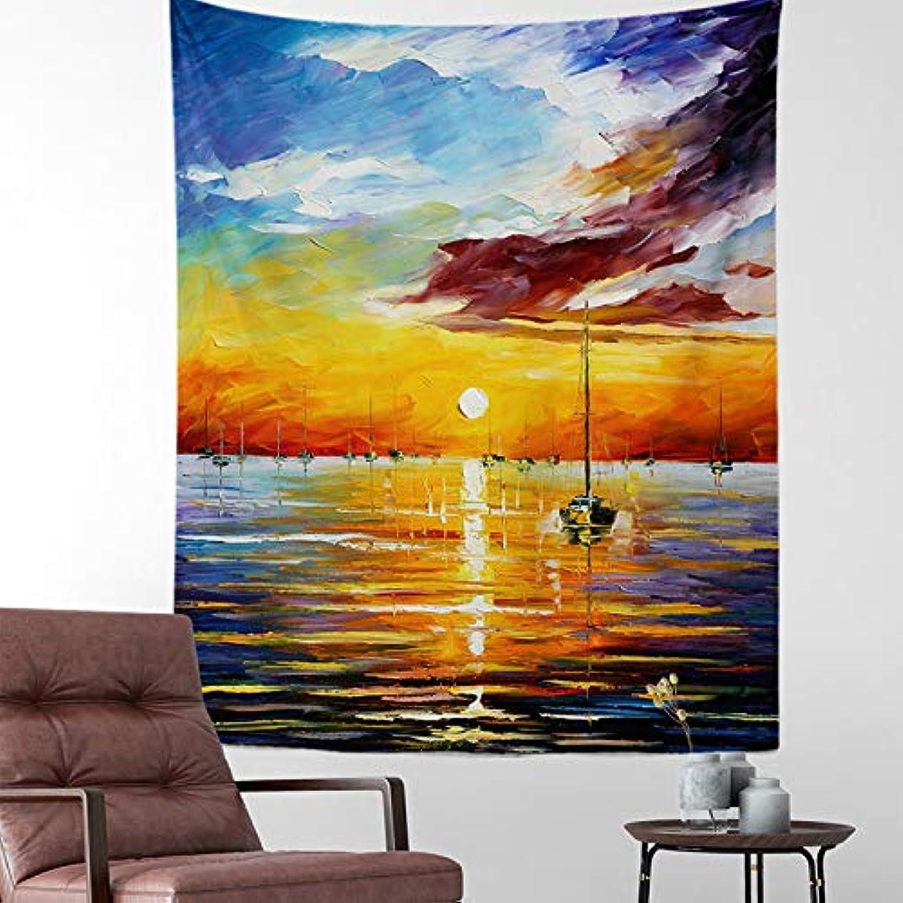 暗記するキャッシュ地上で日没の油絵の壁のタペストリー旅行キャンプ夜明けの絵画パターンボヘミアンのタペストリーヨガマット睡眠タペストリー
