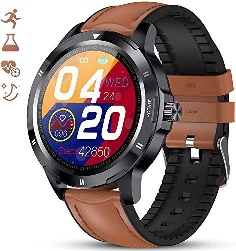 Reloj Inteligente, Smartwatch Impermeable IP67 para Mujer Hombre, Pulsera Actividad Inteligente para Deporte con Monitor de Sueño, Presión Arterial, Pulsómetro, Calorías para Android iOS,Marrón