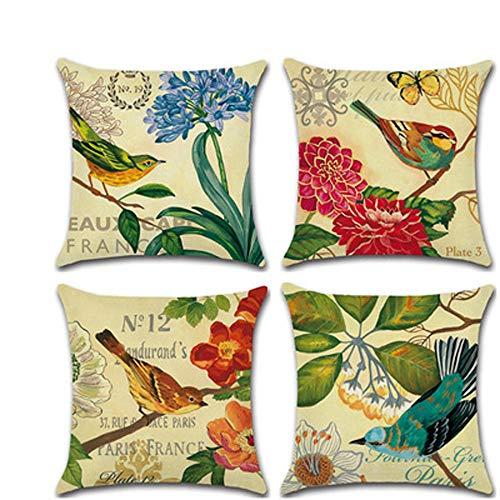XOSHX (4 stuks) vogels, bloemen en vogels van Acacia, kussensloop, kussenhoes, digitale print