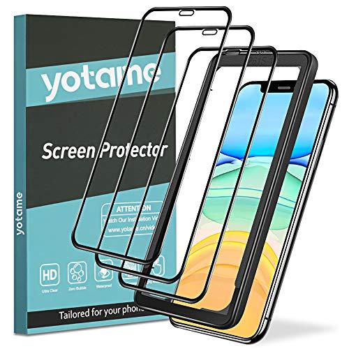 yotame 3 Pièces Couverture Complète Verre Trempé pour iPhone 11 / XR, Protection écran iPhone XR Compatible Face ID [Kit d'installation Inclus] sans Bulles Anti-Rayures Protecteur d'écran iPhone 11