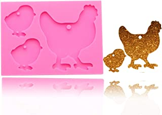 Hen Baby Chick Family Keychain Silicone Mold with Hole Cock DIY Pudding Soap Mould Chocolate Handmade Gum Paste Jelly Ice Cube Fondant Mold Cupcake Cake Topper Decoration Candy Crystal Desserts