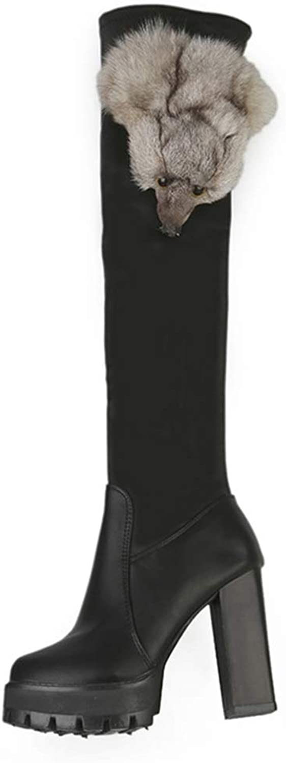 Kyle Walsh Pa Women Winter Leather Boots Over The Knee High Heel Casual Thick Warm Boots