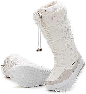 KXDN Bottes De Neige De La Mode d'hiver, des Bottes Hautes avec des Chaussures De Coton Chaud d'impression Zipper Isolatio...