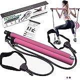 BIGFOX Kit Barra per Pilates con Fascia di Resistenza Regolabile, Set da Pilate Portatile Multifunzione, Pilates Stick per Yoga, Stretching, Modellatura, Natiche, Aallenamento Total Body, Pink