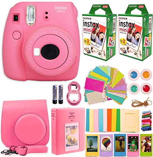 FujiFilm Instax Mini 9 Instant Camera + Fujifilm Instax Mini Film (40 Sheets) Bundle with Deals Number One Accessories Including Carrying Case, Color Filters, Photo Album + More (Flamingo Pink)