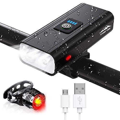 Atmonas Luz Bicicleta, 5200mAh Luces Bicicleta USB Recargable con Floodlight y Spotlight,...