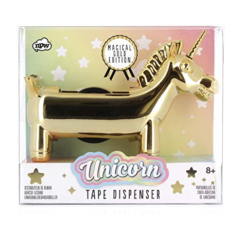 NPW Gold Edition Unicorn Tape Dispenser, Rainbow Tape