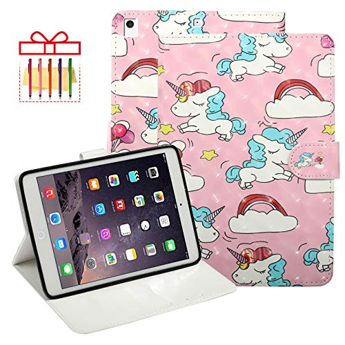iPad 9.7' 2018/2017 6th/ 5th Gen Case, iPad Air 1st/2nd Generation/iPad Pro 9.7' Case, Popbag PU Leather Stand Smart Cover with Auto Wake/Sleep for Apple iPad 9.7/Air 1/2 /Pro 9.7, Cloud Unicorn