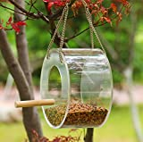 <span class='highlight'><span class='highlight'>Aoweika</span></span> Hanging Bird Feeder, Plastic Transparent Bird Food Container Waterproof for Small Birds Outdoor Garden Lawn Decoration, Easy Fill