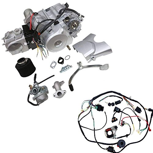 ZXTDR 125cc 4-Stroke Semi-Auto Single-Cylinder Air-Cooled Electric-Start Motor Engine with Wiring Harness Kit for ATV Quad Go Kart