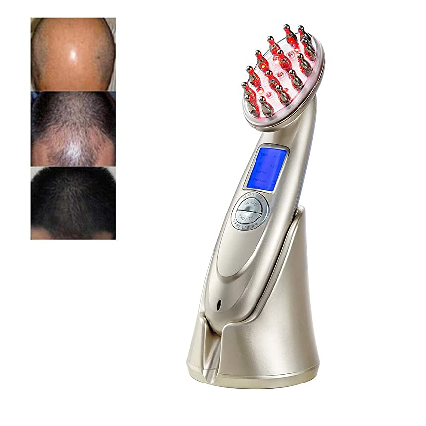 感嘆符サンダース配列抗脱毛櫛 RF EMS ナース LED 光子レーザー刺激発毛ブラシヘッド頭皮修復ヘアマッサージ美容くし