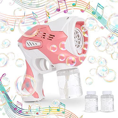 Bubble Gun with Music and Light, Automatic Bubble Maker Blaster for Kids with 2 Bottles Bubble Solution Refill, Fun Outdoors Activity Summer Toy, Bubble Wands for Boys and Girls, Party Favors (Pink)