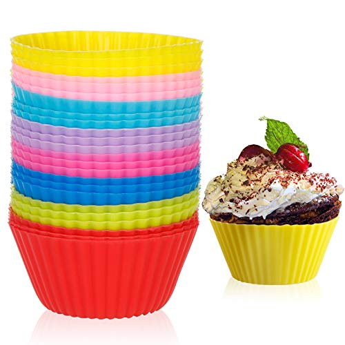 24 Pack Silicone Baking Cups Reusable Muffin Liners,Non-Stick Cup Cake Molds Set,BPA Free Cupcake Holder Reusable Cupcake Liners DIY Gift 8 Colors (24, Rainbow)