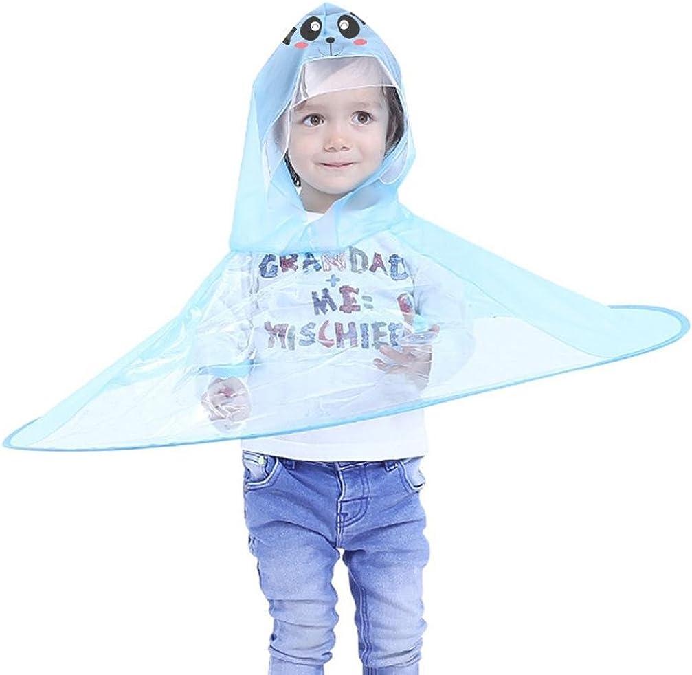 Foldable Cute Cartoon UFO Rain Coat Children Umbrella Hat Magical Hands Raincoat