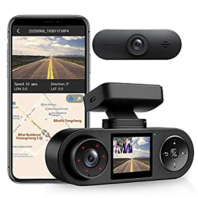 Coxpal Dual Dash Cam with GPS, WiFi, Supercapacitor, Front 2K@30FPS, Dual 1080P Front and Inside Dash Camera, Infrared Night Vision, G-Sensor, Loop Recording, Parking Monitor, Supports 256GB Max