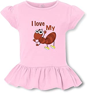 I Love My (Ant) Short Sleeve Toddler Cotton Girly T-Shirt Tee