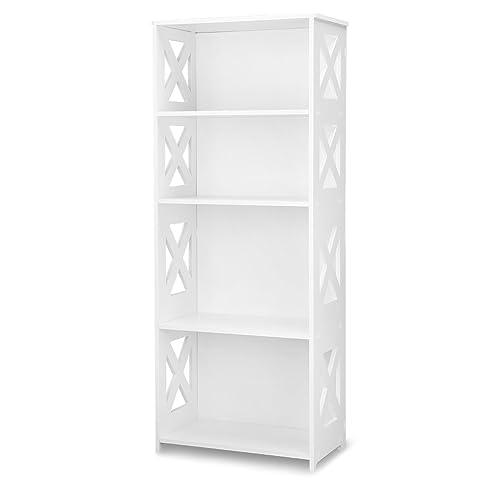 Finether 4-Tier Etagère de Rangement Bibliothèque Meuble de Rangement WPC Bois- Plastique Etagère Livres Meuble Stockage SGS Certifié (40 cmx 22 cmx 100 cm), Blanc