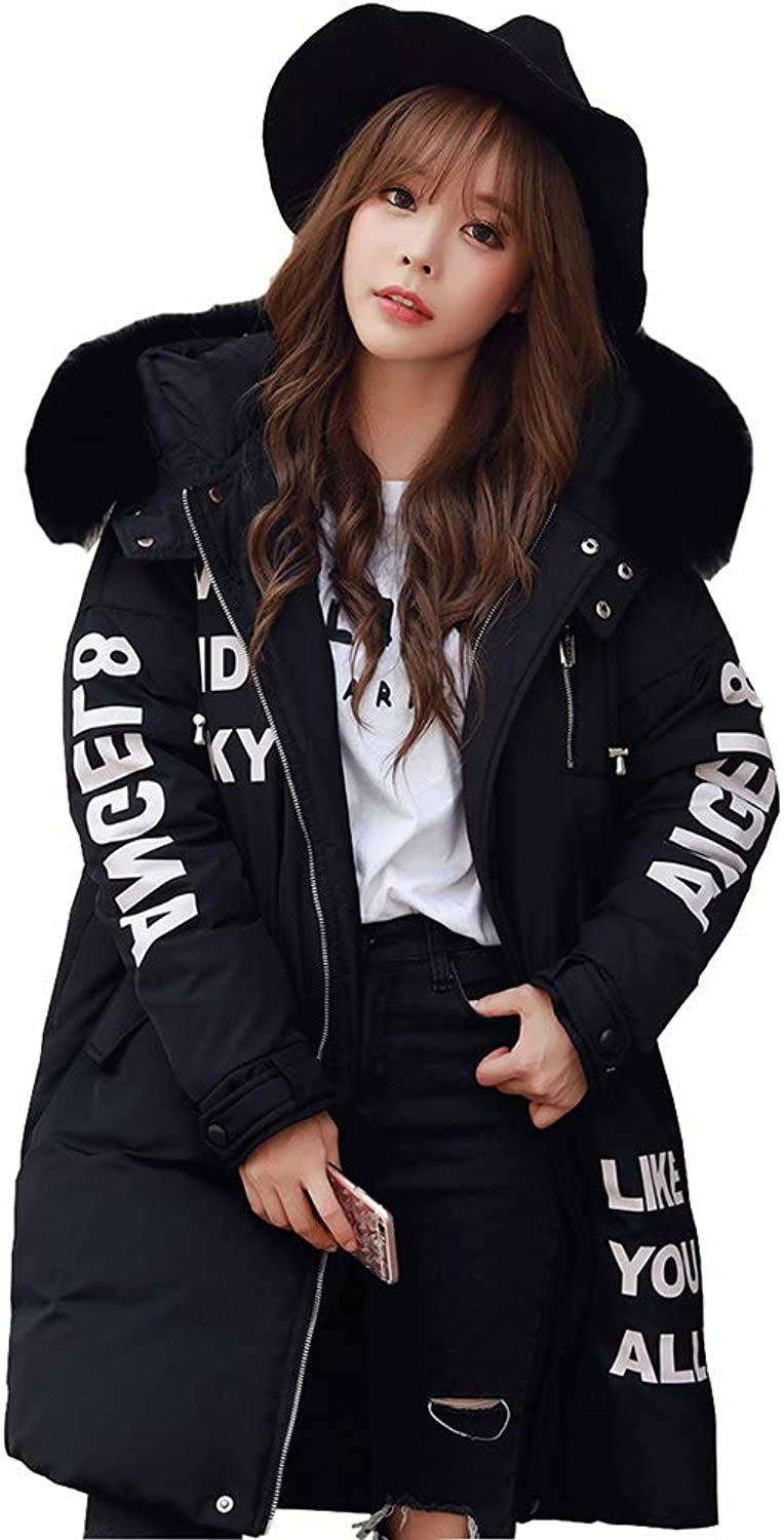 JUNE Women's Padded Lightweight Loose Parkas Long Faux Fur Collar Long Down Coats