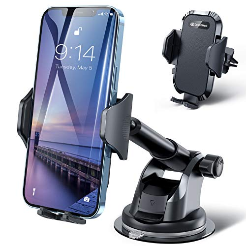 DesertWest 2020 Upgrade Universal Car Phone Mount, Cell Phone Holder for Dashboard Windshield Air Vent, Long Arm Compatible with iPhone 12 SE 11 Pro Max XR XS X Samsung Galaxy Note 20 S20 S10 S9