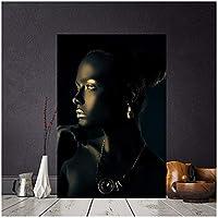 大きいサイズブラックゴールドアフリカンヌードウーマンインドの肖像画キャンバス絵画ポスターとプリントスカンジナビアの壁アートリビングルームの写真30x40cm(12x16in)