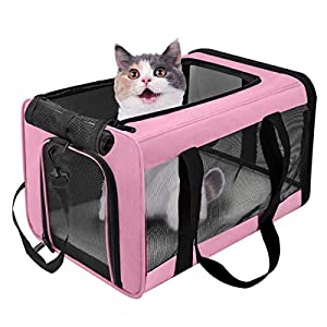 VIEFIN Pet Carrier for Small Medium Cats Dogs,Airline Approved Small Dogs Carrier Collapsible Medium Cat Carriers Soft-Sided, Portable Pet Travel Carrier for 13 lbs Cats Dogs Puppies Kitten(Pink)