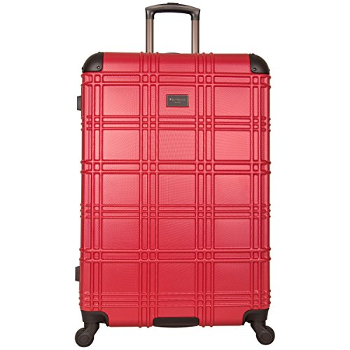 Ben Sherman Nottingham Lightweight Hardside 4-Wheel Spinner Travel Luggage, Red, 28-inch Checked